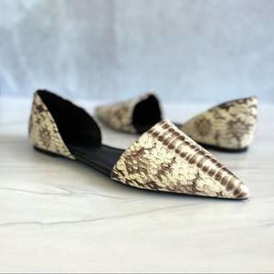 MICHAEL KORS NWOT Croc Embossed Python Print D'Orsay Pointed Toe Flats Size 6.5
